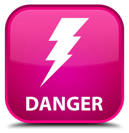 high voltage symbol: Danger (electricity icon) pink square button