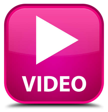 square button: Video pink square button Stock Photo