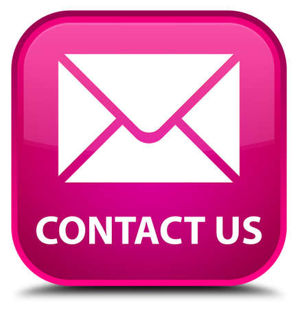email contact: Contact us (email icon) pink square button Stock Photo