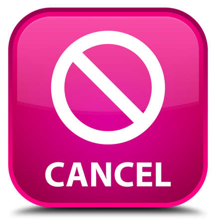 disagree: Cancel (prohibition sign icon) pink square button