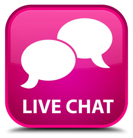square button: Live chat pink square button Stock Photo
