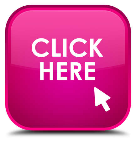 here: Click here pink square button Stock Photo