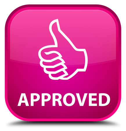 thumbs up icon: Approved (thumbs up icon) pink square button