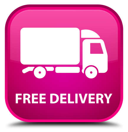 square: Free delivery pink square button