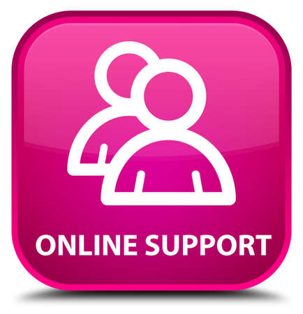 online support: Online support (group icon) pink square button