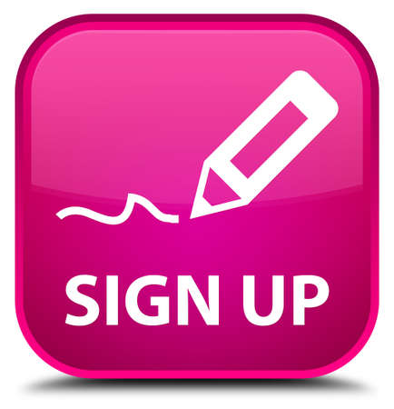 sign up: Sign up pink square button