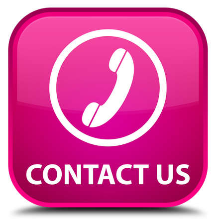 contact us phone: Contact us (phone icon round border) pink square button