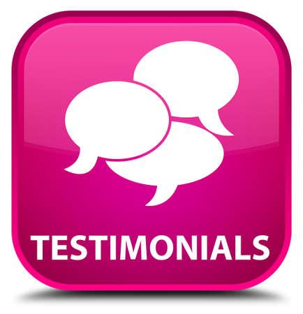 authenticate: Testimonials (comments icon) pink square button