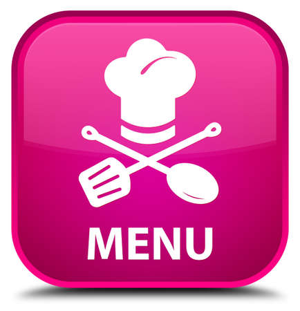 cater: Menu (restaurant icon) pink square button Stock Photo