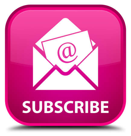 sign up: Subscribe (newsletter email icon) pink square button Stock Photo