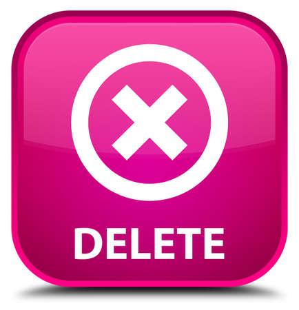refuse: Delete pink square button Stock Photo