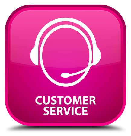 care: Customer service (customer care icon) pink square button