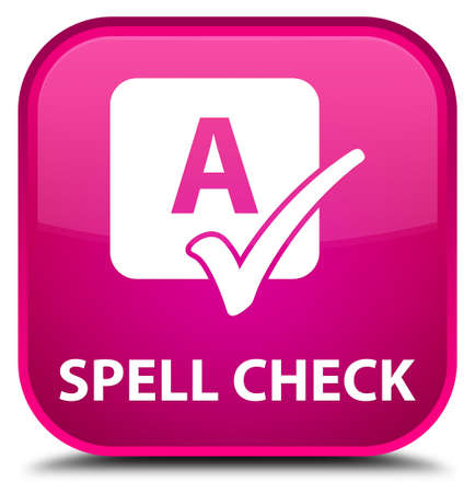 spell: Spell check pink square button Stock Photo