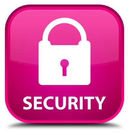 defend: Security (padlock icon) pink square button Stock Photo