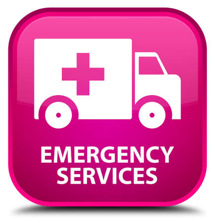 heathcare: Emergency services pink square button Stock Photo