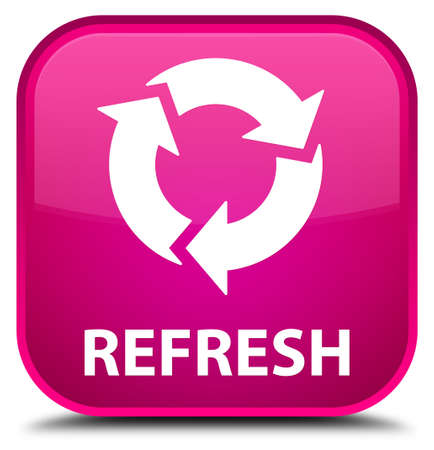 refresh: Refresh pink square button Stock Photo