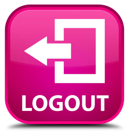 square: Logout pink square button