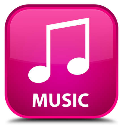 Music (tune icon) pink square button Stock Photo