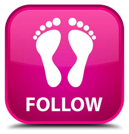 follow icon: Follow (footprint icon) pink square button