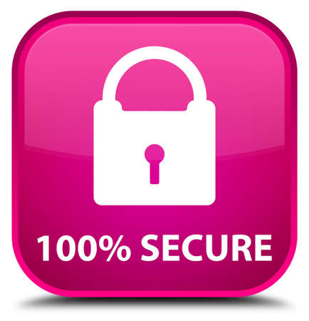 defend: 100% secure pink square button Stock Photo