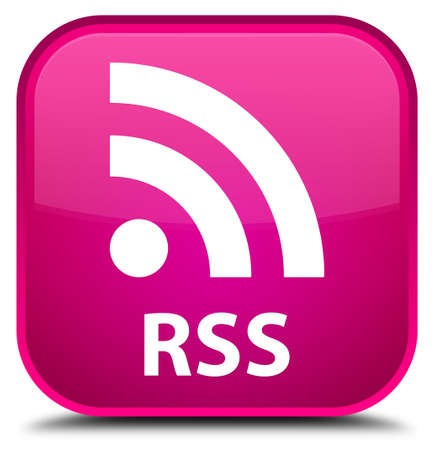rss: RSS pink square button Stock Photo