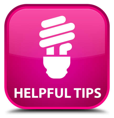 helpful: Helpful tips (bulb icon) pink square button