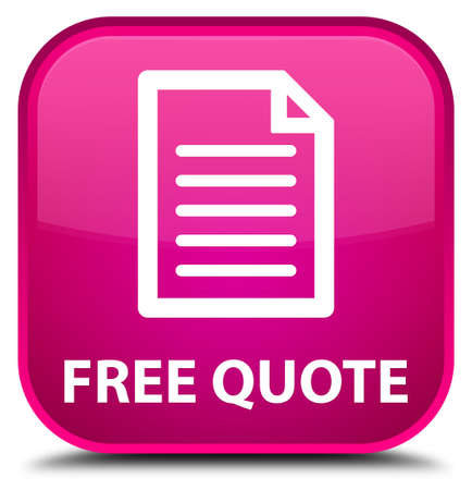 get in shape: Free quote (page icon) pink square button Stock Photo