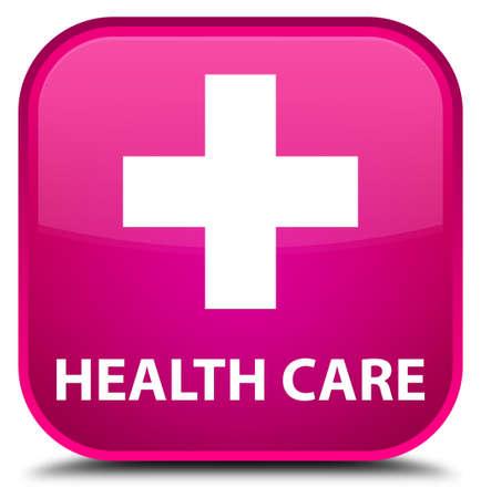 care: Health care (plus sign) pink square button