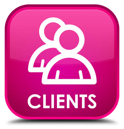 clients: Clients (group icon) pink square button Stock Photo