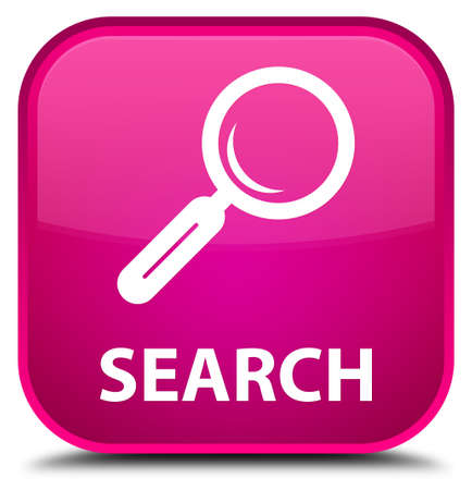 focus on shadow: Search pink square button Stock Photo
