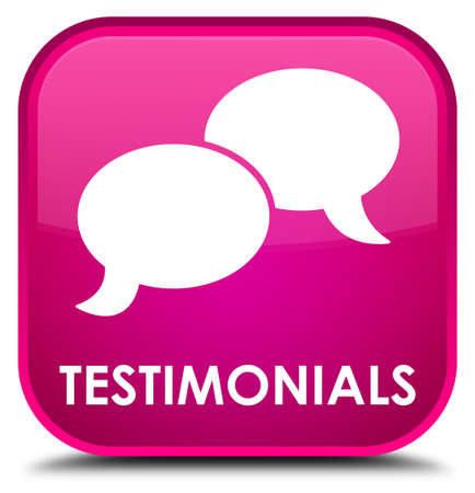 authenticate: Testimonials (chat icon) pink square button Stock Photo