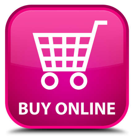 online: Buy online pink square button Stock Photo