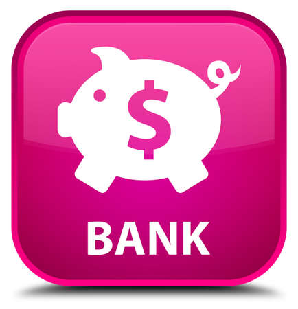 saving accounts: Bank (piggy box dollar sign) pink square button