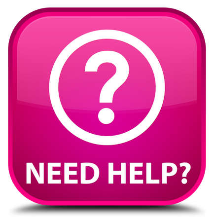 need: Need help (question icon) pink square button Stock Photo