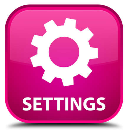 preference: Settings pink square button Stock Photo