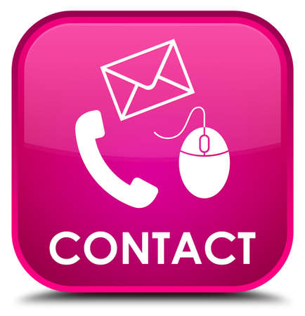 email contact: Contact (phone, email and mouse icon) pink square button