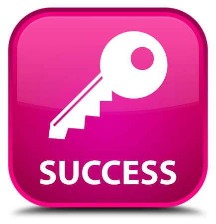 success key: Success (key icon) pink square button Stock Photo