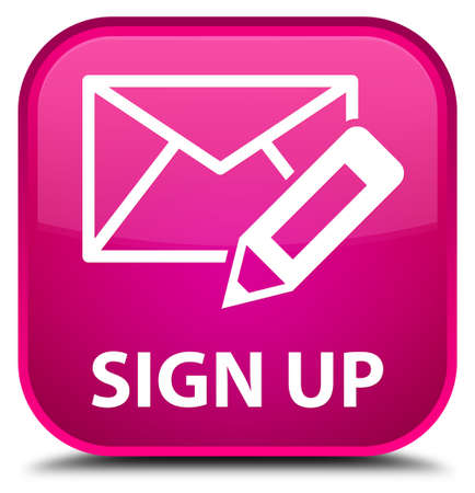 envelop: Sign up (edit mail icon) pink square button Stock Photo