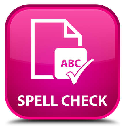 paper spell: Spell check document pink square button Stock Photo