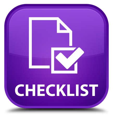 positive note: Checklist purple square button Stock Photo
