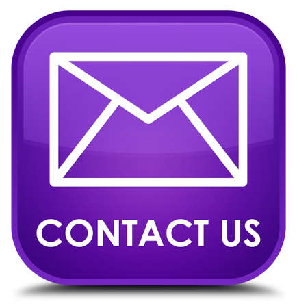 flysheet: Contact us (email icon) purple square button Stock Photo