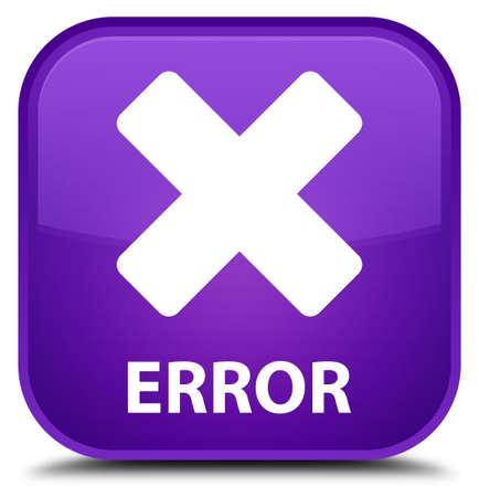 error: Error (cancel icon) purple square button Stock Photo