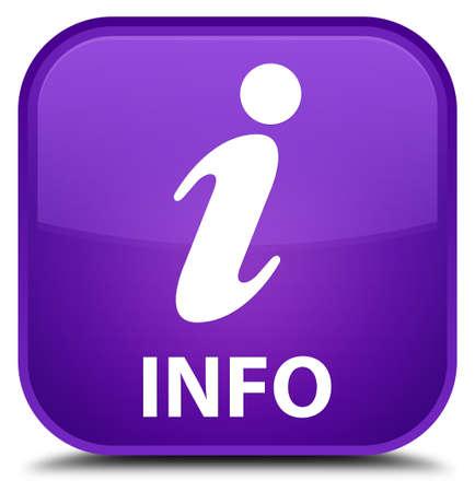 inquiry: Info purple square button Stock Photo