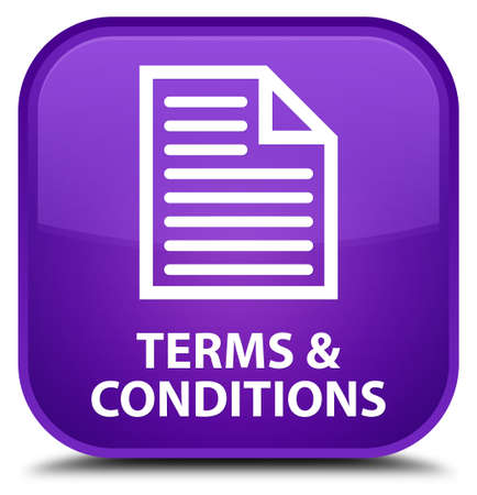 term and conditions: Terms and conditions (page icon) purple square button Stock Photo
