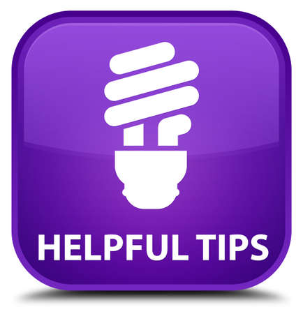 helpful: Helpful tips (bulb icon) purple square button Stock Photo