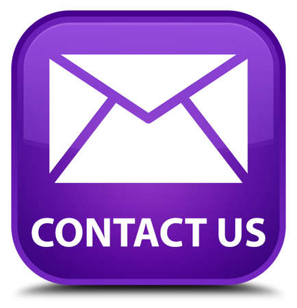 email contact: Contact us (email icon) purple square button Stock Photo