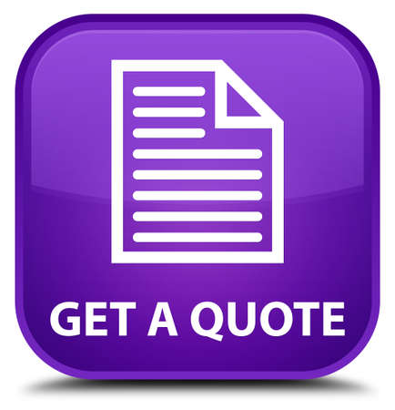 get: Get a quote (page icon) purple square button Stock Photo