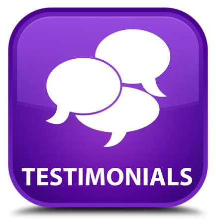 comments: Testimonials (comments icon) purple square button