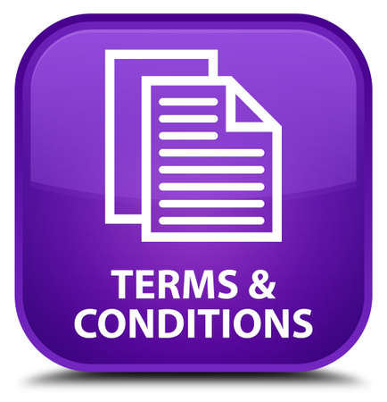 term and conditions: Terms and conditions (pages icon) purple square button Stock Photo