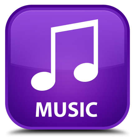 tune: Music (tune icon) purple square button Stock Photo